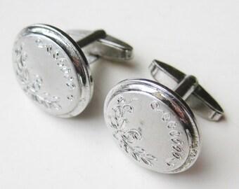 Vintage 50s 60s Sterling Silver Engraved Gentlemens Cufflinks