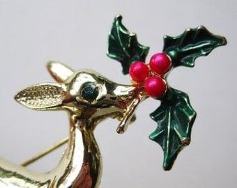 Vintage Christmas Holly Rudolph Reindeer Rhinestone Brooch Pin