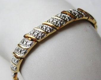 """Vintage Gold Vermeil Solid Sterling Silver 8"""" Tennis Bracelet"""