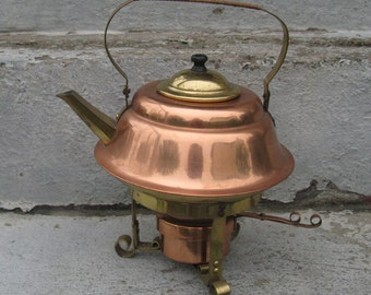 copper and brass tea kettle with sterno rustic old world french country made in japan