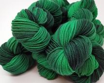 "Green EcoFriendly Hand Dyed Merino Worsted Weight ""Springy"" Yarn named Shamrock, 218 yards"