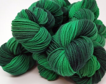 "Green EcoFriendly Hand Dyed Merino Worsted Weight ""Springy"" Yarn named Shamrock, 218 yards"