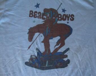 Vintage 70's The BEACH BOYS soft thin blue Concert Tour T shirt M