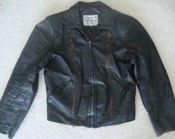 Vintage 70's Casablanca New York London Paris Los Angeles Black punk rock ramones heavy metal Leather Biker Motorcycle Jacket 38 S