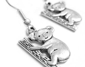 Koala Bear Earrings - Silver Koala Jewelry 118
