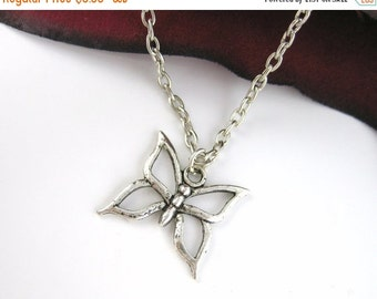 VALENTINES DAY SALE - Silver Butterfly Necklace - Silver Butterfly Jewelry Silver Butterfly Pendant Necklace