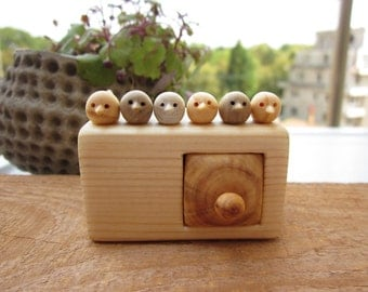 Miniature chest of drawers with flock of birds, Jewlery box, Wood carving, Wood Sculpture, Wood box, Personalized Gifts, unique gift