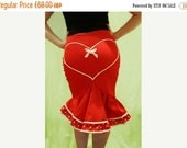 ON SALE // Red fishtail pin-up skirt, with white and red polka dot double frill and heart design on the rear//sizes xs-xl