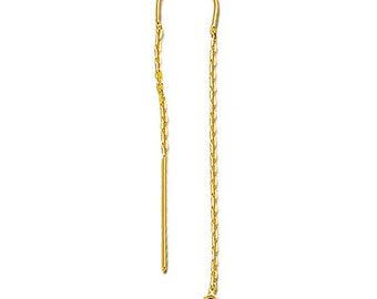 14K Yellow Gold Cable Chain Ear Thread with Center U-Bar and Ring