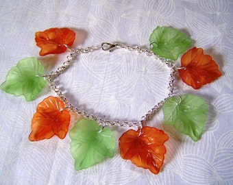 Lucite Leaves Bracelet Autumn Colors