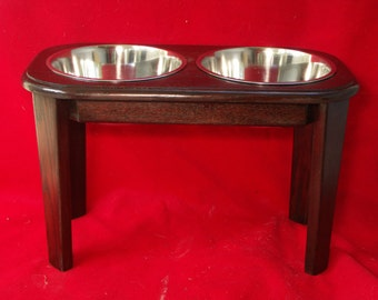 Elevated Large Dog Feeder Solid Oak Wood 15 Inch High Five Quart  FREE NAME and STAIN