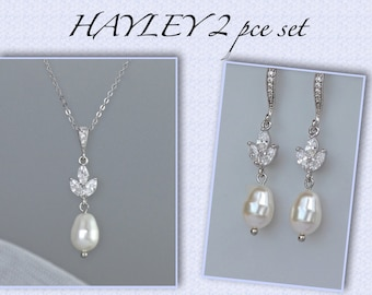 Pearl Bridal Jewelry set, Wedding Jewelry Set, Pearl Earrings and Necklace set,  HAYLEY set 3