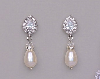 Pearl Drop Bridal Earrings, Crystal and Pearl Drop Earrings, Bridal Jewelry, Wedding Jewelry, HEATHER