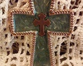 Coppery Leaves On Sparkling Green Copper Cross or Pendant
