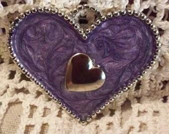 Marbled Purple Heart Pendant or Saddle Charm