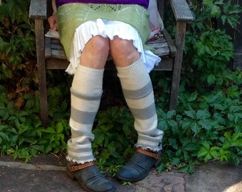 Upcycled Gray and Cream Stripe Leg Warmers