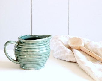 RIBBED Vintage Green Pottery Turquoise Pitcher