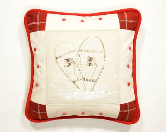 "Pillow On Snowshoes 20"" x 20"" Luxurious Patchwork cushion winter sports Cottage accent Red and grey plaid Off white velvet High end"