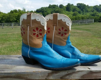 Tony Lama Red & Turquoise Shortie Vintage Cowboy Boots 9B
