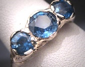 Antique Ceylon Sapphire Wedding Ring Vintage Art Deco 14K W.Gold 2.2ct