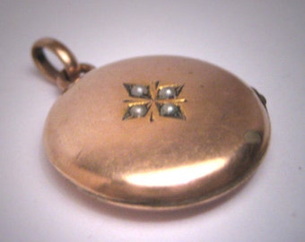Antique Gold Locket Pendant Vintage Victorian c. 1890 Necklace Seed Pearls Rose Gold