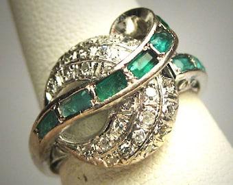 Antique Emerald Diamond Wedding Ring Vintage Art Deco 1920 Moon Motif Engagement