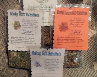 Refill Herbal Salt Substitute herb cooking seasoning, features garlic, onion, dried herbs, salt free