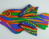Retro Rainbow Fish Magnet or Wall Art in Polymer Clay
