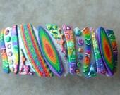 Rainbow Crazy Stripe Barrette, Large Freeform in Pearl and Rainbow Retro Polymer Clay