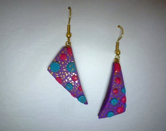 Asymetric Polka Dot Earrings Polymer Clay in 3D Pink, Turquoise Blue and Purple with Gold Flecks