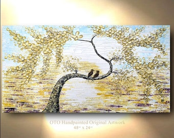 Love Bird Tree Painting Gold Artwork Birds on canvas Blue Purple Art Flowering Tree,Swallow painting Two Bird Sparrow Original By OTO