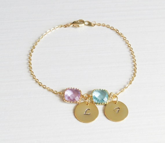 Personalized Gold Charm Bracelet   Birthstone & Initial Bracelet   Birthstone Bracelet   Initial Bracelet   Gifts for her
