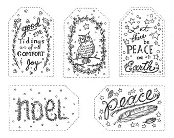 Christmas Gift tags to Color INSTANT DOWNLOAD Holiday Coloring fun 2 pages