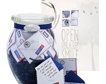 Long Distance Missing You Gift Jar of Messages - Airmail