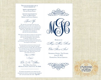 Wedding Ceremony Programs - Choose Your Color - NAVY - DIY - Printable, Bi-fold, Monogram, Formal, Elegant, Script, Catholic, Unique, Cheap