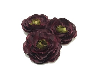 3 Artificial Ranunculus in Eggplant Purple - 3.5 Inches - Artificial Flowers, Silk Flowers, Flower Crown