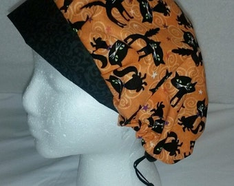 Ladies Surgical Scrub Cap Nurses Medical Soap Making Hat Washable Cotton Fabric Ready Halloween Cats