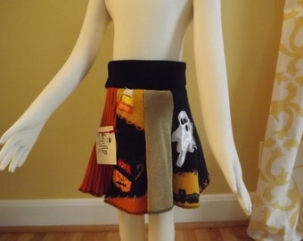 Vintage Girl's 8-Panel Halloween Swirly Skirt Made From Recycled Sweaters