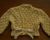 Cardigan/jacket/jumper for a baby girl, soft yellow wool rich yarn, hand knitted from a vintage lacy pattern, chest 20 in, approx age 6-12m