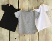 18, 24 months, 2T, 3T, 4T Upgrade to a Finished Short Sleeved Shirt Ironed and Sewn on Applique of Your Choice Black, Gray or White Toddler