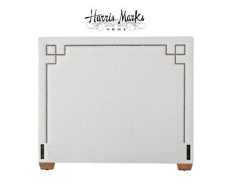 Greek Key Headboard Upholstered Any Size Any Height Extra Tall Nail Head Trim Choice of Fabric BY CUSTOM ORDER