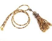 Ethnic Turkish Tassel Necklace Sandy Beige Jasper Stone Gemstone Statement Gypsy Hippie Bohemian Artisan - One Of A Kind