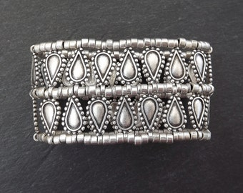 Tear Drop Stretchy Silver Statement Bracelet - Authentic Turkish Style
