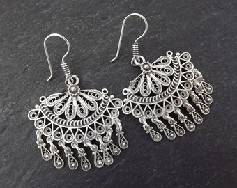 Scallop Fan Shaped Telkari Dangly Silver Ethnic Boho Earrings - Authentic Turkish Style