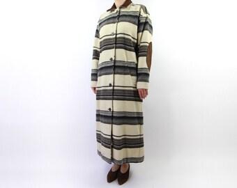 VINTAGE Blanket Coat Stripe Western Elbow Patch Long