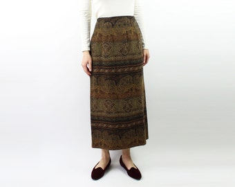 VINTAGE Kilim Skirt Brown Long Medium
