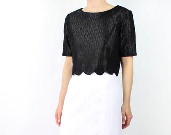 VINTAGE 1950s Lace Blouse Crop Top Black