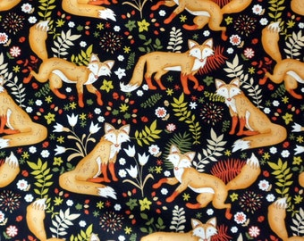 Fox Fabric Sly as a Fox Cotton Fabric Material with  Foxes Cotton Classics Sewing Supply Quilting Supply