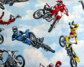 Dirt Bike Fabric Acrobats on Bikes Material Motorcycle Fabric Timeless Treasures