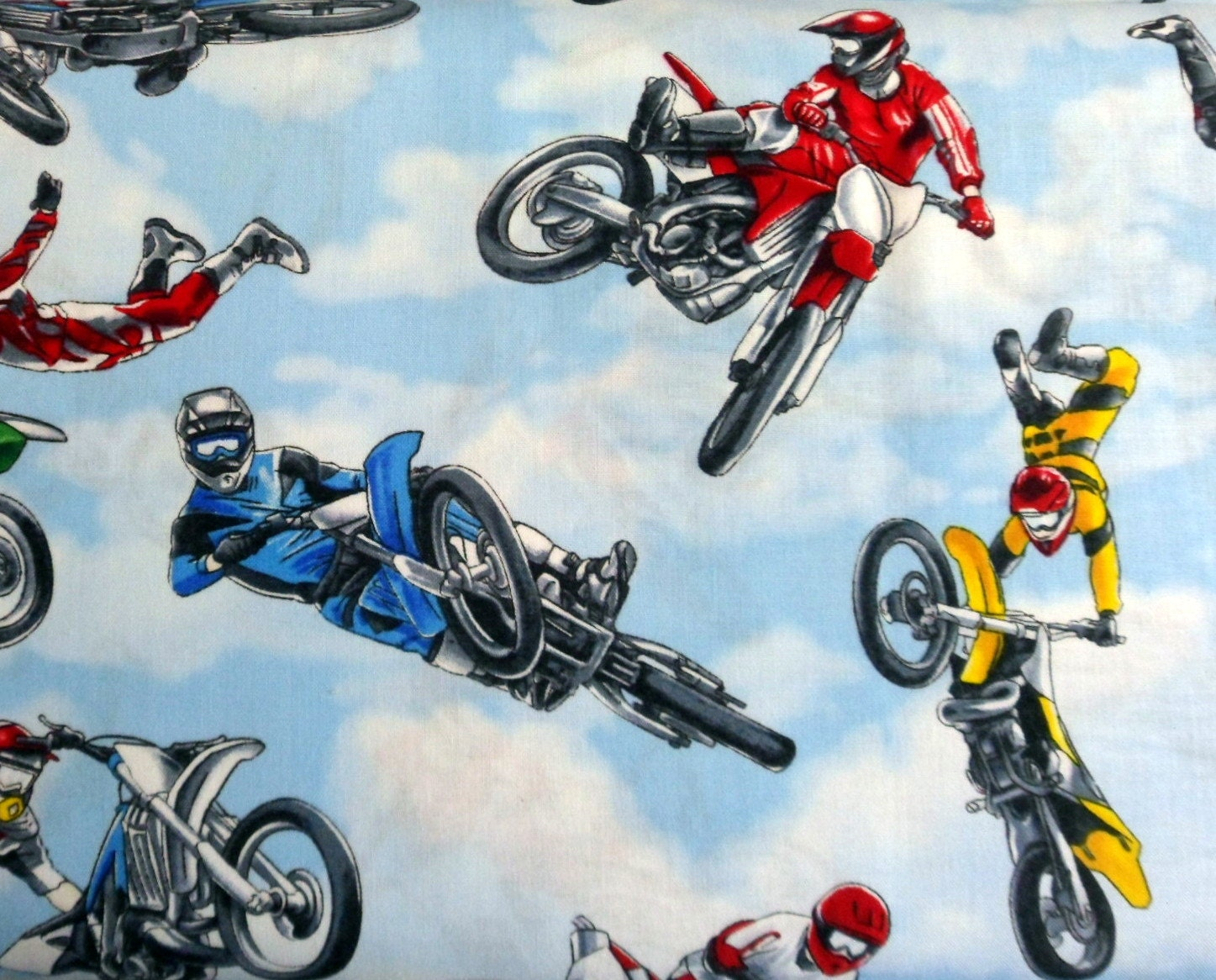 Dirt Bike Fabric Acrobats on Bikes Material Motorcycle Fabric